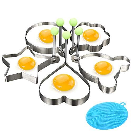 Cyleibe 5 Stück Spiegeleiform Edelstahl Bratring, Edelstahl Eier Pochringe mit Silikongriffen Verschiedene Formen Eierringe für Frühstück Grillplatte Pfanne Küchenwerkzeug, 2 Stück Silikonschwämme