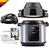 MICHELANGELO 6.5 QT Pressure Cooker Air Fryer Combo, All-in-1 Pressure Cooker with Air Fryer - Two Detachable Lids for Pressure Cooker, Air Fryer, Rice, Slow Cooker, Steamer & Warmer, Air Fryer Pressure Cooker Combo 6.5 Quart, Large Pressure Fryer