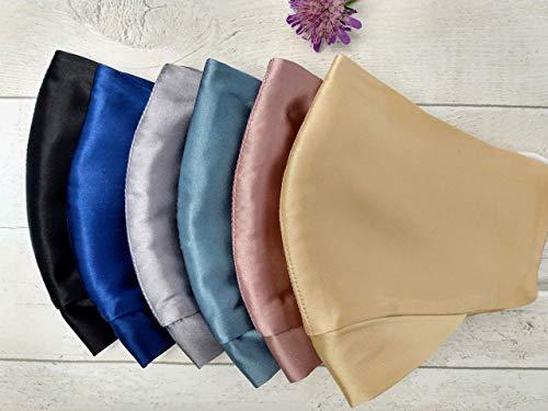 Mulberry Silk Gesichtsmaske. 2 Schichten, 100% Seide. Blaugrün. Waschbar, Einstellbar.