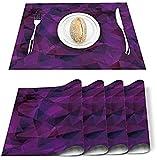 Juego de 4 manteles individuales geométricos abstractos triangulares poligonales de poliéster resistentes a las manchas,manteles individuales lavables para decoración del hogar,cocina,oficina morado