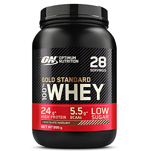 Optimum Nutrition Gold Standard 100% Whey Proteine in Polvere con Proteine Isolate ed Aminoacidi per la Massa Muscolare, Cioccolato Nocciola, 28 Porzioni, 0.9 kg, il Packaging Potrebbe Variare