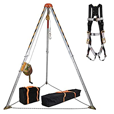 KSEIBI 423990 Aluminum Confined Space Tripod Kit Manhole Entry and Rescue Equipment Set with 65' Winch, Pulley, Carabiner, Fall Protection Safety Harness and Carrying Storage Bag