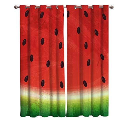 JNBGYAPS Blackout Curtains 3D Watermelon pattern printing Thermal Insulated Curtains Eyelet Super Soft Window Treatment for Bedroom Window Decoration parlor bathroom 2 x 29.5 x 65.3 Inch