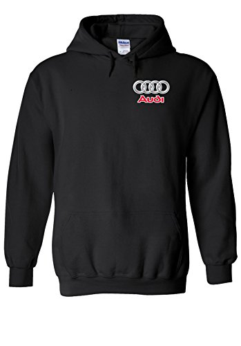 Audi Logo S R8 Line Pocket Print Novelty Black Men Women Unisex Hooded Sweatshirt Hoodie-XL