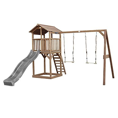 AXI Beach Tower Spielturm aus Holz in Braun   Spielhaus für Kinder mit Grauer Rutsche, Doppelschaukel und Sandkasten   Stelzenhaus für den Garten