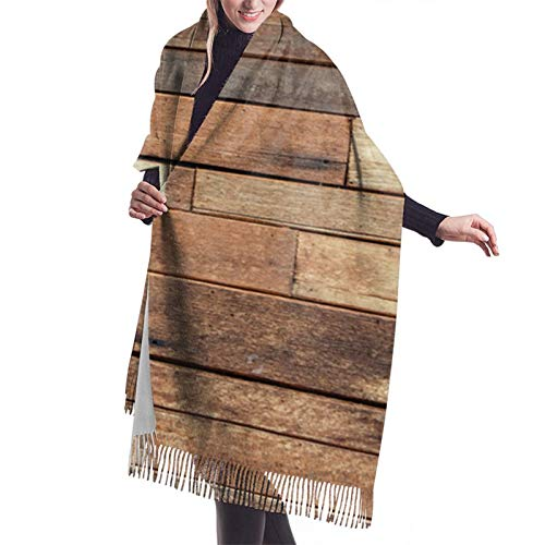 Casual And Formal Scarves Soft Cashmere Rustic Floor Planks Print Grungy Look Farm House Country Style Shawl Wrap For Women Girls