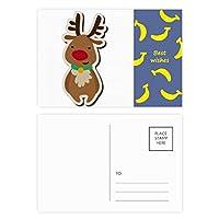 クリスマスのヘラジカ漫画フェスティバル バナナのポストカードセットサンクスカード郵送側20個