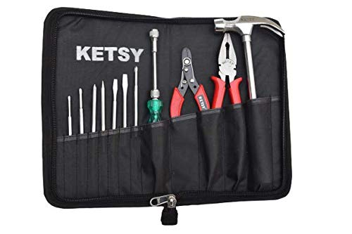 "Ketsy 311 Hand Tool Kit 12 Pcs. (8 Pcs Screwdriver •1 Claw Hammer Steel Shaft ½ Lb •1 Combination Plier 8"" •1 Wire Cutter 6"" •1 Tool Bag)"