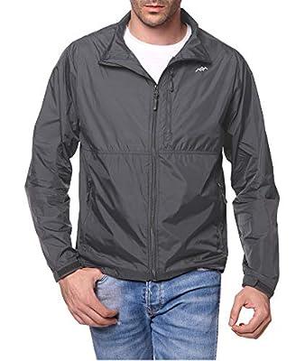 TRAILSIDE SUPPLY CO. Men's Standard Water-Resistant Nylon Windbreaker Front-Zip up Jacket,Dark Grey,L