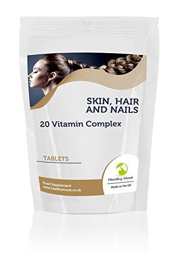 Skin, Hair and Nails 20 Vitamin Complex Vitarenew Food Supplement 7 Tablets Pills Includes Copper, Zinc, Vitamin E, Vitamin C, Biotin and Selenium Nutrition Supplements HEALTHY MOOD