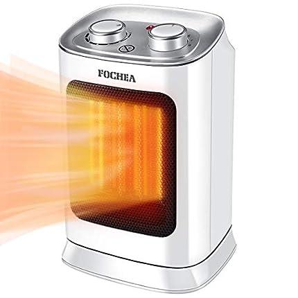 FOCHEA Calefactor Eléctrico Cerámico 1800W Bajo Consumo Calentador de Aire Caliente y Frio Portátil con Oscilación Automática, Doble Protección de Seguridad
