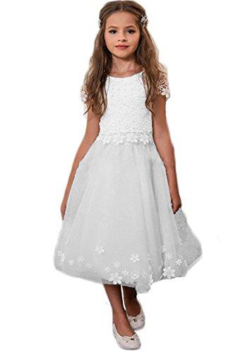 Aurora dresses Mädchen BlumenmädchenKleider Spitze Kinderkleid Kommunionkleid Hochzeitkleider Festzug Kleidung(Weiß,7-8 jahre)