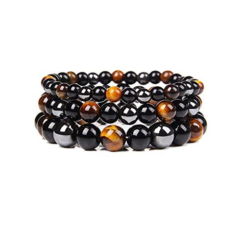 WANGPIN 3 Pcs Men SteelHard Triple Infrared Bracelet,Lymphatic Drainage Black Obsidian Bracelet,Tiger Eye Hematite Beads Anklet for Women (6mm+8mm+10mm)