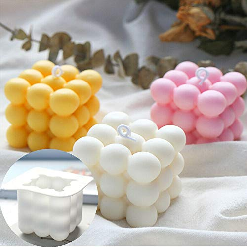 TRTO DIY Candles Mould Cube Soy Candle Mold DIY Aromatherapy Candle Mold 3D Silicone (Random Color)