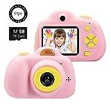 SeeKool Cámara Digital para niños,2 Objetivos Selfie 18 Millones de Pixels Cámara Digital 1080P HD Video, Zoom Digital 4X, Flash Lights, 2' LCD, Batería Recargable con 32GB Tarjeta de Memoria (Rosa)