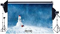 HD 7X5FT / 210X150cm薄ビニール写真撮影の背景ボケハロス落下雪片雪だるま大雪クリスマスメリークリスマス肖像画背景写真スタジオ小道具PD190