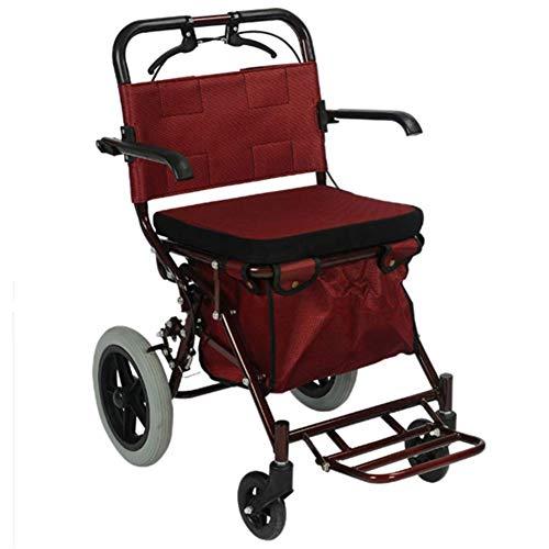 Inicio Equipamiento Carro hospitalario Suministros médicos Rack Silla de ruedas plegable liviana Conducción Scooter médico viejo Silla de ruedas de viaje Plegable Portátil Carro de la compra de emp