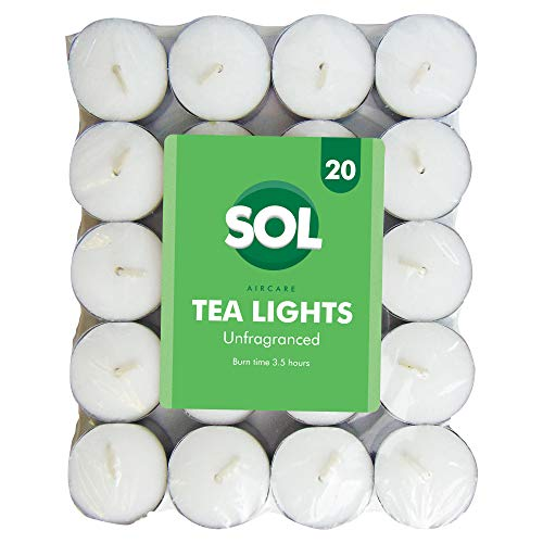 20pk Unfragranced Tealight Candles | White Unscented Tealights | Night Light Candle with Long Hour Burning Time for Centerpieces, Weddings, Christmas, Spa and Home Décor