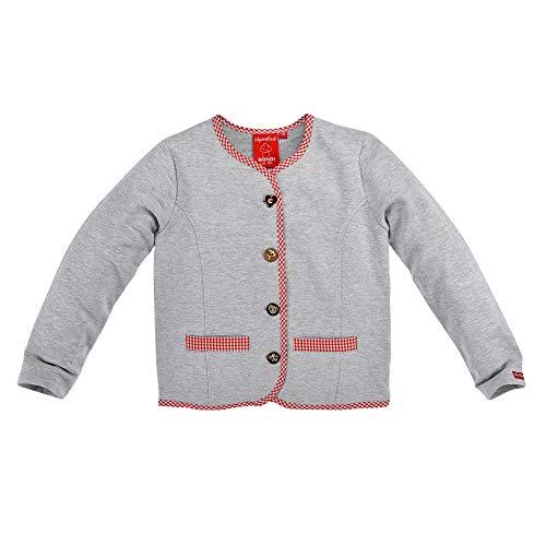 BONDI Kinder-Trachtenjacke aus Baumwolle Gr. 134 I Schöne Mädchen-Strickjacke in Grau I Jacke für Kinder & Kleinkinder, langärmlig I Jäckchen aus Sweatware I Wunderschöne Kinderbekleidung