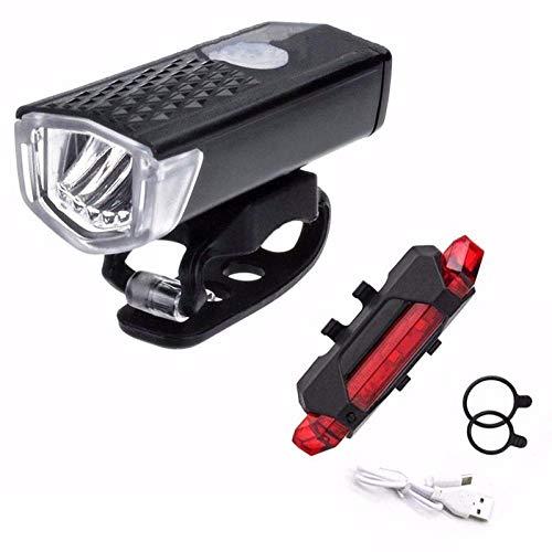 XWYWP Juego de luces de bicicleta bicicleta bicicleta luz USB LED recargable conjunto montaña ciclo delantero trasero faro linterna negro