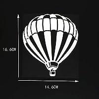 車のステッカーの装飾 14.6X16.6CM熱気球おかしいビニールステッカー車のステッカー大気球ブラック/シルバー (Color Name : Silver)