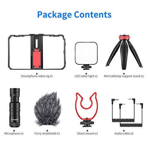 Neewer Smartphone Video Rig mit Mikrofon- und LED Beleuchtungsset, Film Gehäuse, Telefonvideostabilisatorgriff Stativhalterung mit Mini-Stativständer für Vlogging, Tutorials,