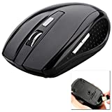 OcioDual Ratón Óptico Inalámbrico 1600 dpi Sin Cable Receptor USB Wireless Mouse 2.4GHz Negro para PC Ordenador Portátil