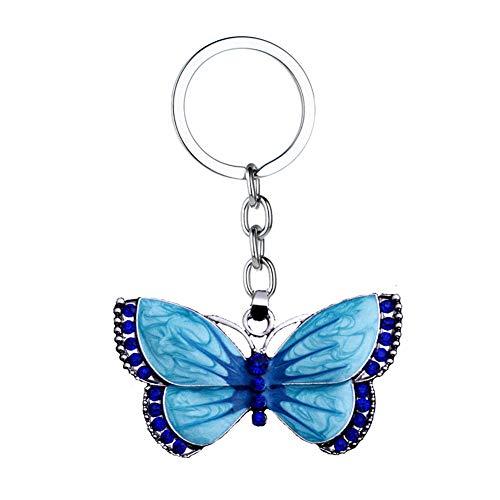 Nowbetter Kristall-Schmetterling Anhänger Schlüsselanhänger, Anhänger, Auto, Tasche, Geldbeutel, Hängezubehör, Ornamente, Basteln, Schlüsselschnalle für Frauen und Mädchen, blau, 5.5*3cm