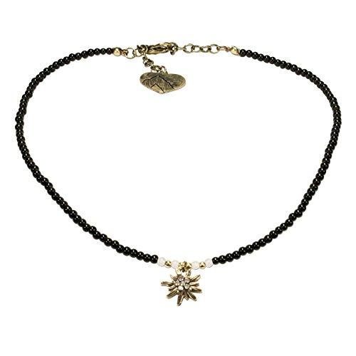 Alpenflüstern Filigran Perlen-Trachtenkette Strass-Edelweiß - Damen-Trachtenschmuck mit antik-Gold-farbenem Edelweiss, Dirndlkette schwarz DHK181