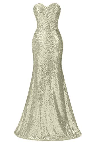 Monalia Women's Sweetheart Sequin Bridesmaid Dresses Wedding Brides Evening Gowns Champagne 24W