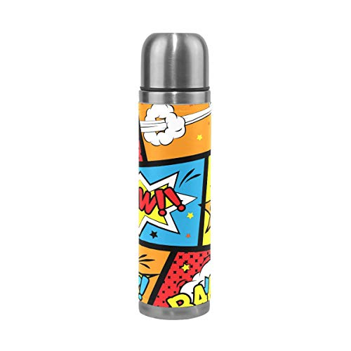 Eslifey Boom Comic Words Botella de agua aislada de doble vacío de acero inoxidable termo 500 ml