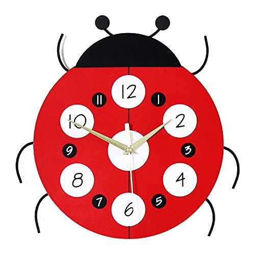 Reloj De Mariquita,Reloj De Pared De Dibujos Animados Creativos,No-marcando Relojes De Movimiento De Cuarzo Para La Sala De Estar De La Sala De Niños,Decoración Del Hogar-Rojo 31x31cm(12x12inch)