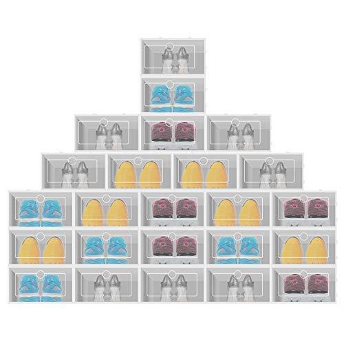 Krispich Kunststoff Schuhbox 24er Set - transparenter, stapelbarer und wasserdichter Schuhorganizer, Faltbare Schuhe Aufbewahrungsbox, raumsparend Schuhregale für Männer und Frauen 34 * 23.5 * 13 cm