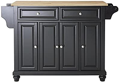 Crosley Furniture Cambridge Kitchen Island with Natural Wood Top - Black by Crosley Furniture