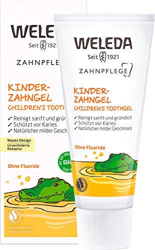 WELEDA Kinder Zahngel, Naturkosmetik Zahncreme zur natürlichen Zahnpflege von Milchzähnen und dem Zahnfleisch von Kindern und Babys, Schutz vor Karies ohne Fluoride (1 x 50ml)