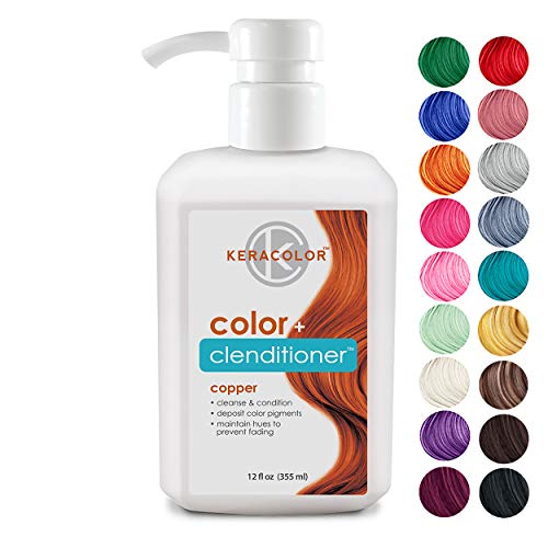 Keracolor Clenditioner Color Depositing Conditioner - Hair Glaze Colorwash, Copper, 12 Fl Oz