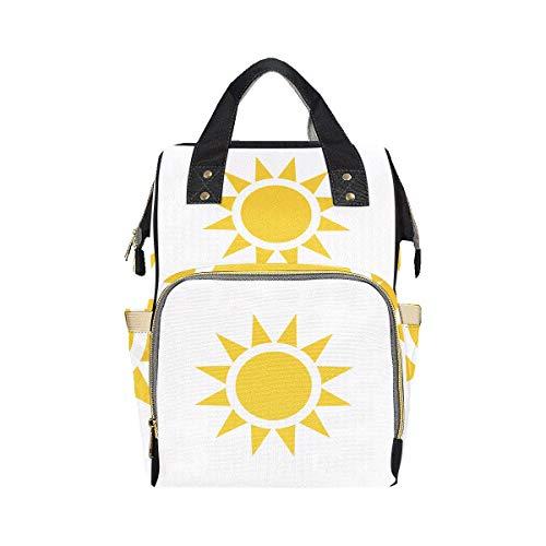 Bright Yellow Cartoon Confident Sun Couches Sacs Sac À Dos Maman Papa Changer Grande Capacité Multi-fonction Couche Sac Fourre-Tout Sac À Dos Pour Bébé Fille Garçon