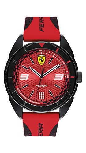 Ferrari Forza, reloj casual de cuarzo de plástico y correa de silicona, rojo con detalles negros, para hombre, 830517