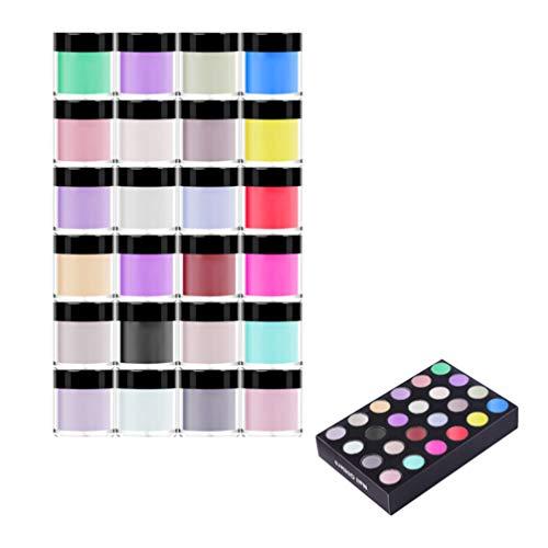 Minkissy 24 farben nail art acrylpulver glänzend bunten kristall nagel pulver dekoration diy nagel pulver für frauen mädchen