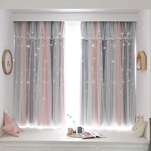 Double Deck Farbe Verdunkelungsvorhänge,mit Voile Vorhang,ösen doppelstöckiger Vorhang Blickdicht,Sterne Aushöhlen isolierter vorhänge,Wohnzimmer/Kinderzimmer Wärmeisolierter 2 Schichten Gardinen,1p