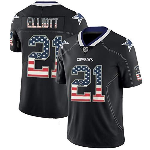 Herren T-Shirt American Football Uniform Dallas Cowboys Elliott #21 Fußball Trikot Gruby Tee Shirts Gr. XXL, Bild