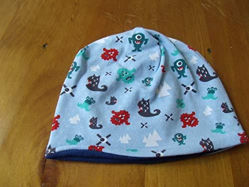 Mütze Babymütze Baby Junge Monster blau hellblau Geschenk zur Geburt Mütze für Neugeborene