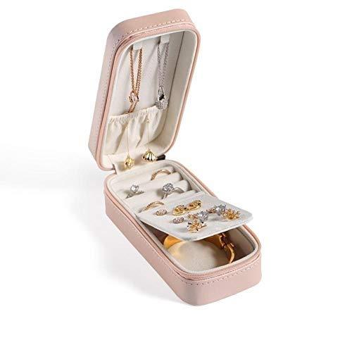 JLCK Mini Organizador de Caja de joyería, Cuero sintético pequeño Viaje Caja de Almacenamiento de joyería Anillos Pendientes Collar Pulseras joyería Caja de Regalo para niñas Mujeres-Rosado