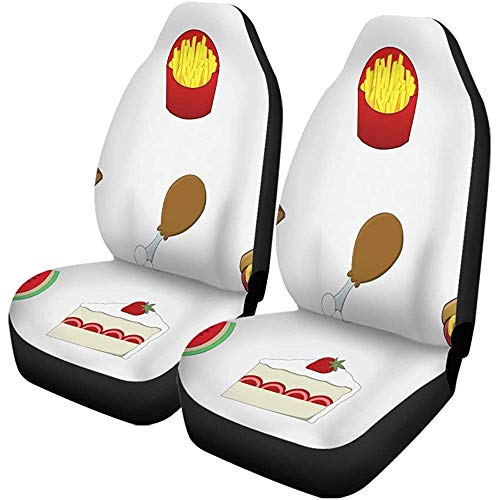 Autostoelhoezen Cake Food Pizza Kip Donut Fries Hamburger Hotdog Ijs Set van 2 Beschermers Universele Fit voor Auto Truck SUV