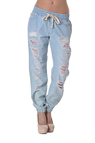 American Bazi Women's Destructed Denim Jogger Pants RJJ328 - Light Blue - 2X-Large - D8C