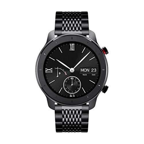 Cinturini di ricambio compatibili con Amazfit Bip/GTS/GTR 42mm 47mm/Amazfit Pace/Stratos Smartwatch Cinturino in acciaio inossidabile lucidato a 15 griglie a sgancio rapido (20mm/22mm)