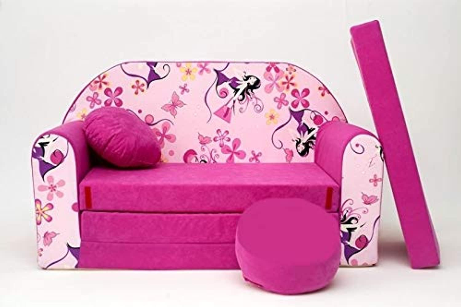 Pro Cosmo H10 Kids Sofa Bed Futon with Pouffe Footstool Pillow, Fabric, Pink, 168 x 98 x 60 cm