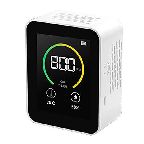 CO2-Kohlendioxid-Detektor,Luftqualität Messgerät,TFT-Farbbildschirm Intelligenter Lufttester Luftqualitätsanalysator mit Temperatur-Feuchtigkeits-Anzeige 400-5000PPM Messbereich(weiß)