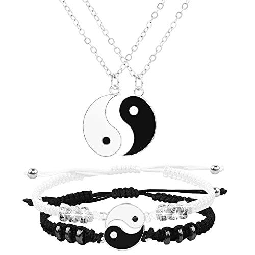 Collares de Mejores Amigos Pulseras para 2 Yin Yang Pulsera de Cordón Ajustable para Bff Relación de Amistad Novio Novia Regalo (Silver)