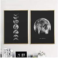ミニマリスト満月ポスター壁装飾アート白黒ムーンプリントソーラーシステムキャンバス絵画画像フレームなし